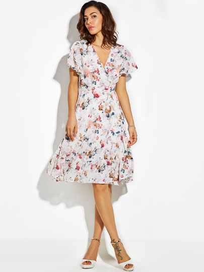 V-Neck Flower Print Vacation Lace-Up Women's A-Line Dress