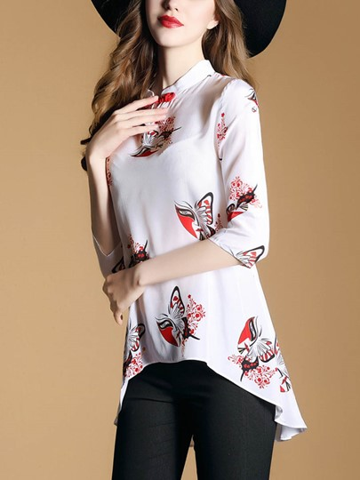 Stand Collar High Low Women's Blouse
