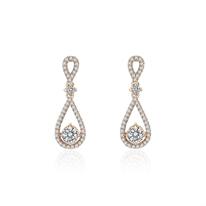 Pear Diamante Twist Arm Alloy Earrings