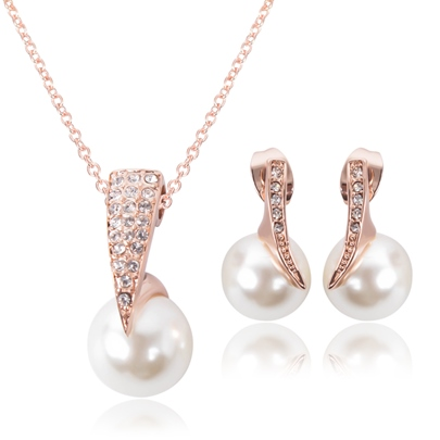 Pearl Diamanted Alloy Two Piece Jewelry Sets