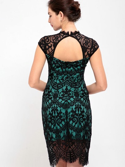 Cap Sleeve Open Back Women's Lace Dress