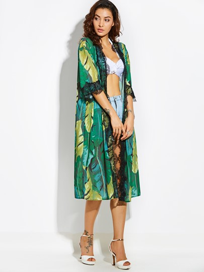 Thin Color Block Plant Print Women's Vacation Kimono