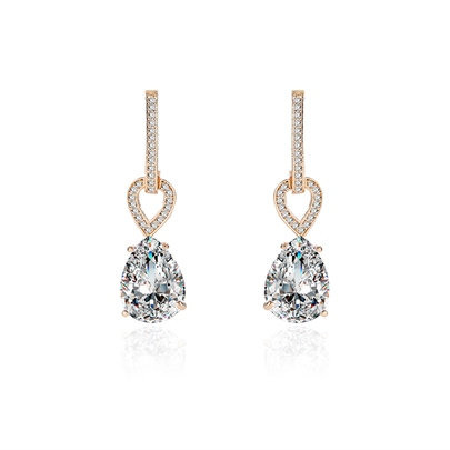 Pear Zircon Inlaid Diamante Alloy Earrings
