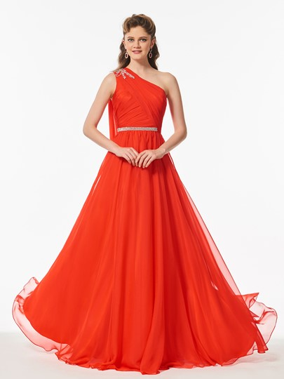 One-Shoulder Beading Pleats Sashes Floor-Length Prom Dress