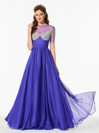 Short Sleeves Scoop A-Line Beaded Floor-Length Prom Dress