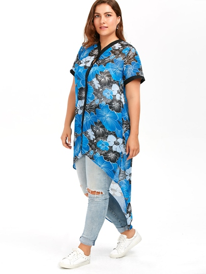 Plus Size High Low Button Up Loose Women's Blouse