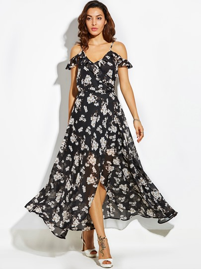 Backless Print Vacation Slash Neck A-Line Women's Maxi Dress