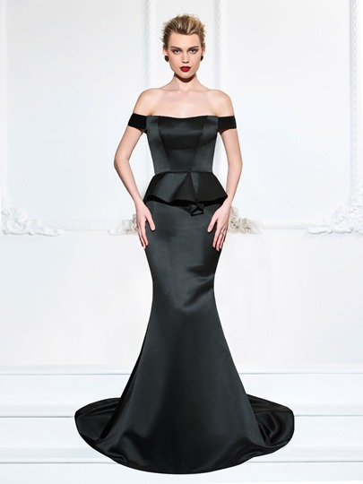 Ruffles Off-the-Shoulder Trumpet Sweep Train Evening Dress