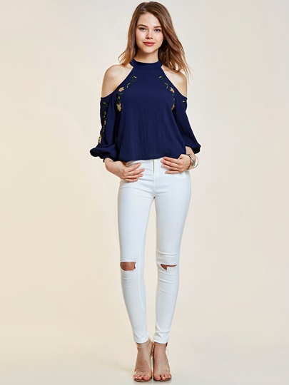 Cold Shoulder Floral Embroideried Women's Blouse