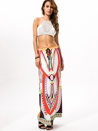 Geometric Print Ankle-Length Women's Skirt