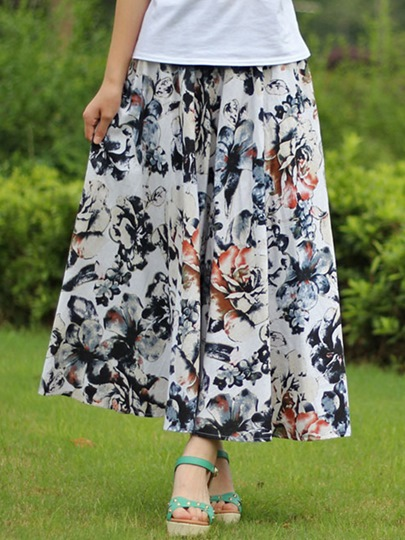Flower Print Pleated Patchwork Women's Skirt