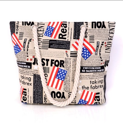 Color Block American Flag Decoration Tote Bag
