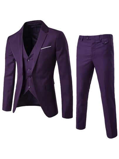 Three Pieces Single Button Men's Dress Suits