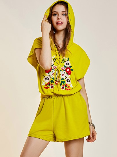 Flower Embroidery Hooded Lace-Up Women's Two Piece Set