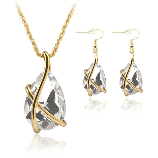 Pear Shaped Zircon Inlaid Alloy Two-Piece Jewelry Sets