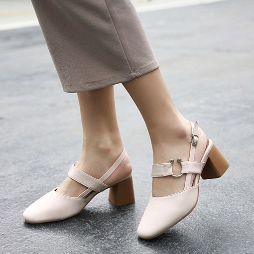Rubber Outsole Chunky Heel Square Toe Buckle Sweet Plain Women's Sandals