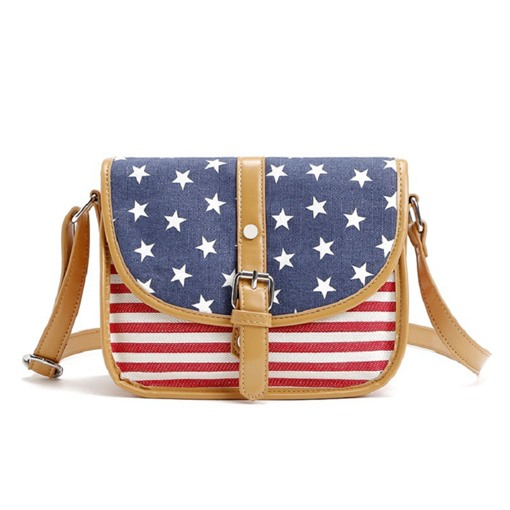 Personality Splicing American Flag Cross Body Bag