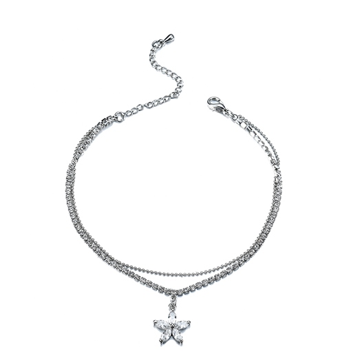 Flower Rhinestone Diamante Box Chain Anklet
