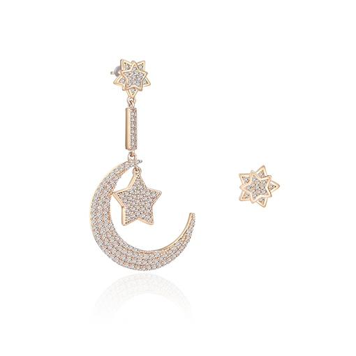 Full Drill Star Moon Ear-Hook Stud Earrings