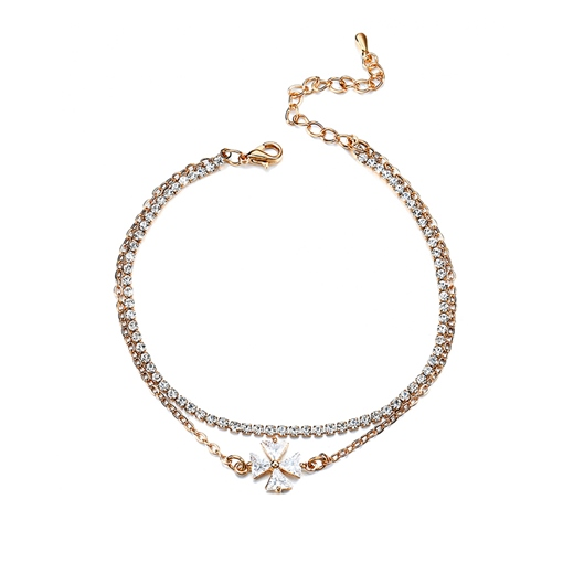 Rhinestone Inlaid Box Chain Alloy Anklet