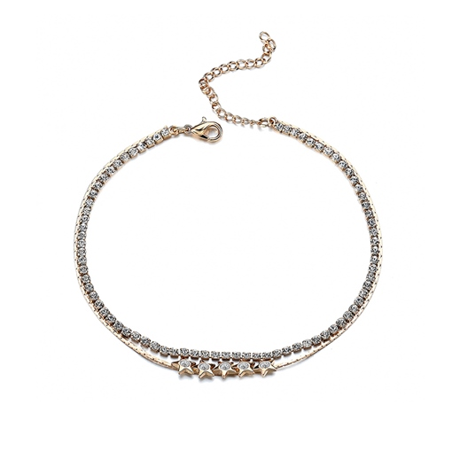 Box Chain Star Diamante Alloy Rhinestone Anklet