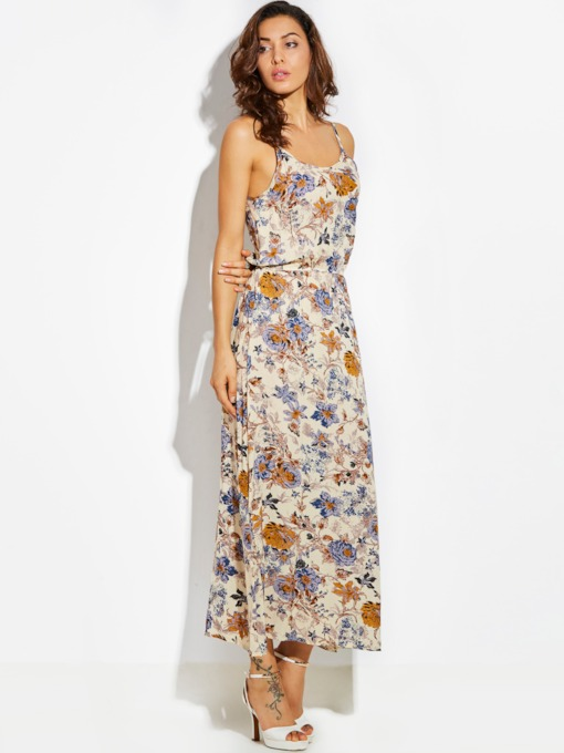 Spaghetti Strap Flower Print Backless Vacation Women's Maxi Dress