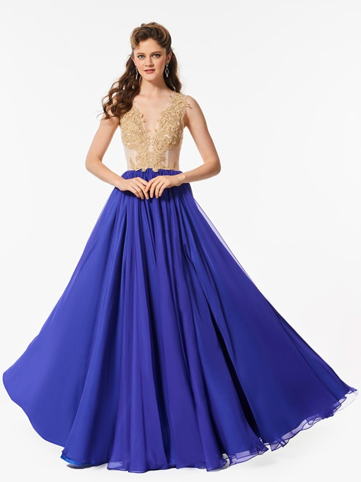 A-Line Button V-Neck Appliques Sleeveless Floor-Length Prom Dress