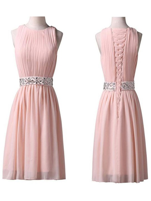 A-Line Beading Sleeveless Pleats Knee-Length Homecoming Dress