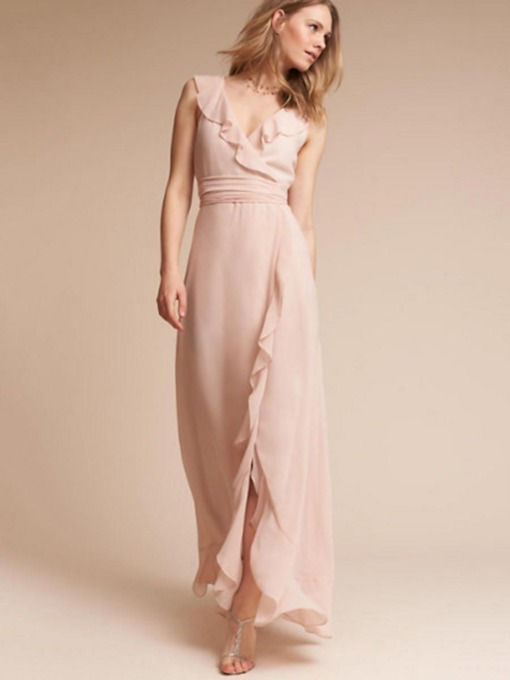 Chiffon Falbala Plain Women's Maxi Dress