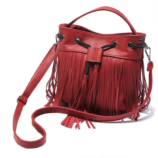 Simple Tassel Belting Bucket Cross Body Bag