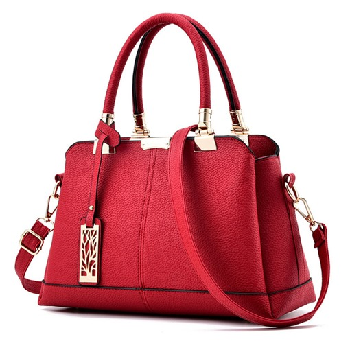 Exquisite Metal Pendant PU Women Tote Bag