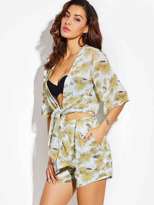 Thin Wrapped Beach Vacation Plant Print Women's Cardigan