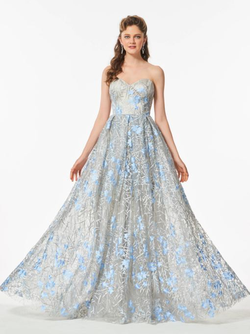 Sweetheart A-Line Lace Flowers Floor-Length Prom Dress