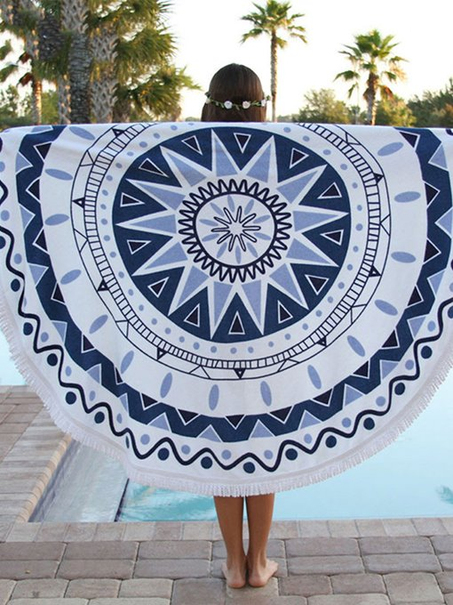 Geometric Print Tassel Round Beach Throw