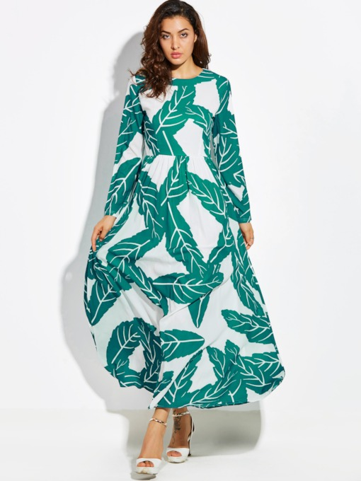 Green Printing Vacation Long Sleeve Women's Maxi Dress