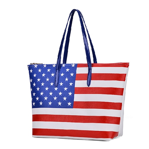 Trendy American Flag Printing Women Tote Bag