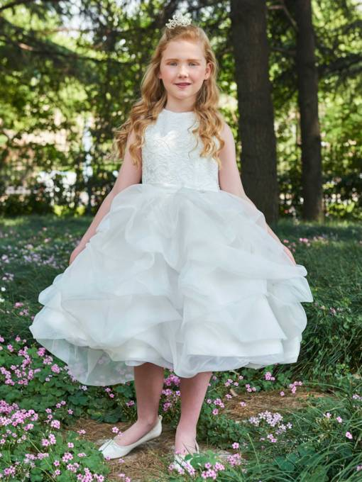 Lace Bowknot Ruched Ball Gown Flower Girl Dress