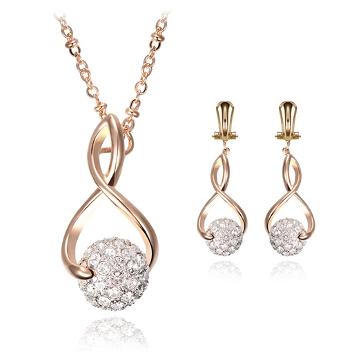 Alloy Twist Arm Diamante Ball Two Piece Jewelry Sets