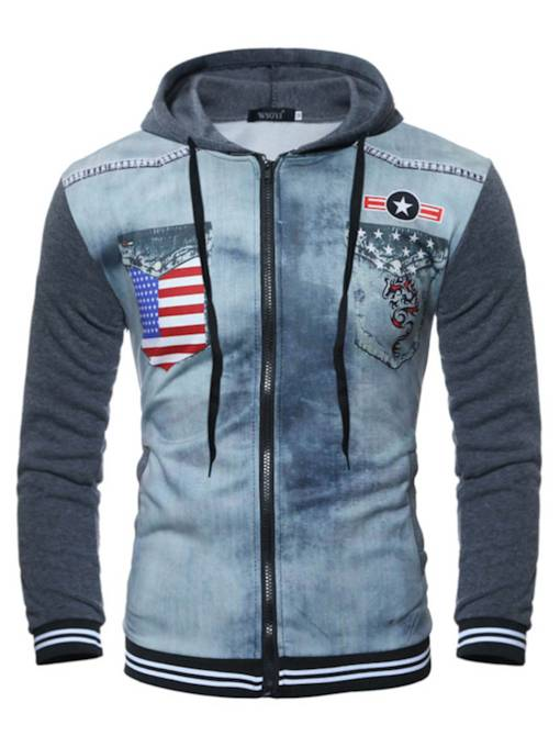 Zipper Patchwork Pocket Printed Slim Fit Men's Vogue Hoodie