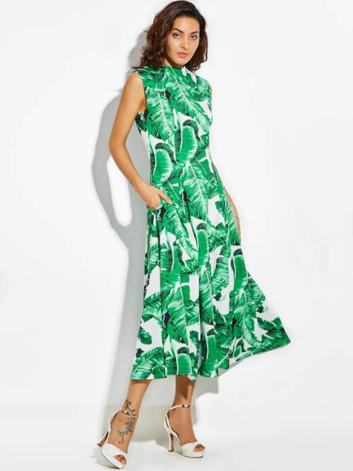Vacation Sleeveless Green Printing Women's Maxi Dress