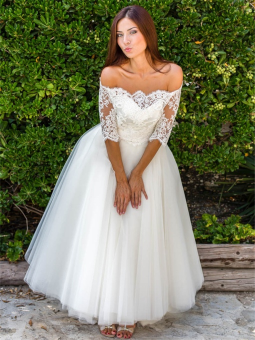 Appliques Ankle-Length Wedding Dress with Lace Jacket