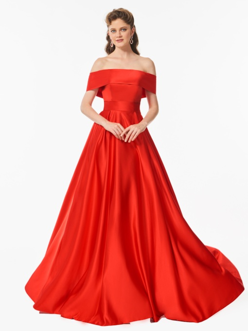 Bowknot A-Line Off-the-Shoulder Sweep Train Prom Dress