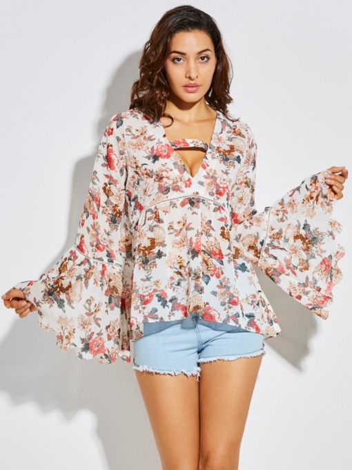 Flower Print Hole Vacation Bell Sleeve Women's Blouse