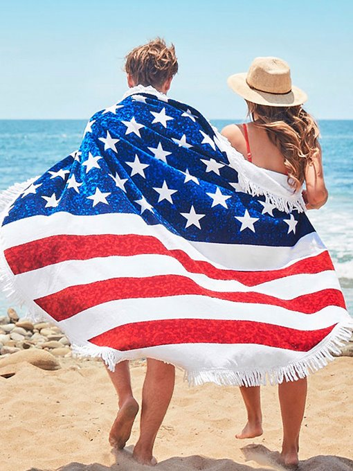 American Flag Print Tassel Round Beach Throw