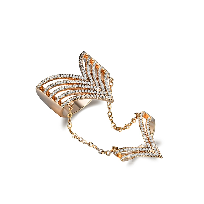 Hollow Diamante Chain Conjoined Ring