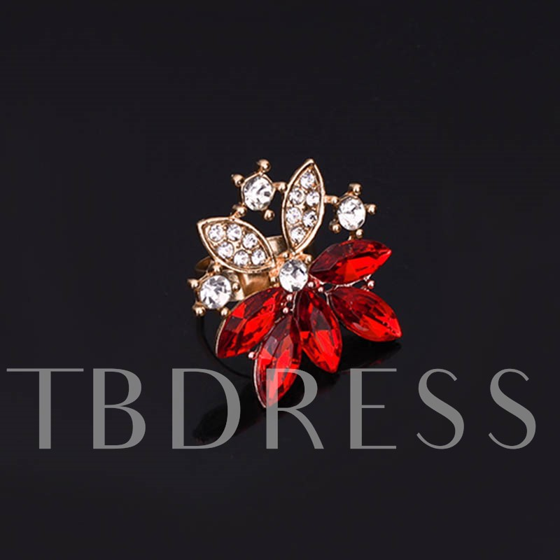 Red Rhinestone Inlaid Diamante Jewelry Sets