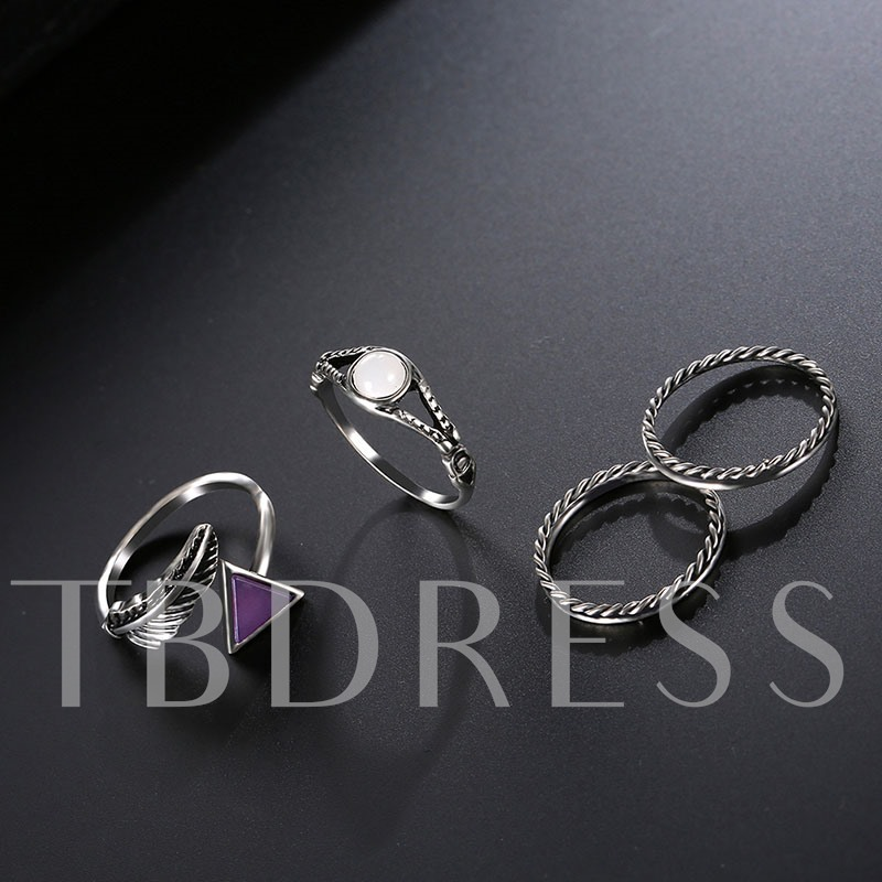 Leaf Shaped Link Chain Trangle Alloy Jewelry Sets