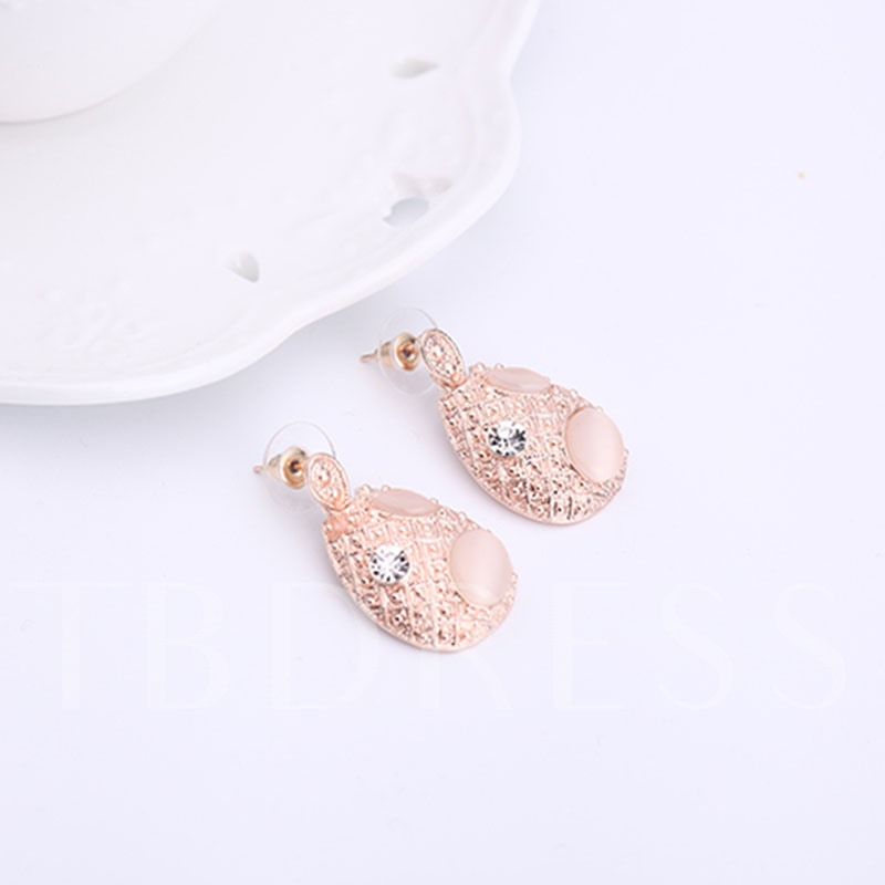 Pink Pear Alloy Diamante Two Piece Jewelry Sets