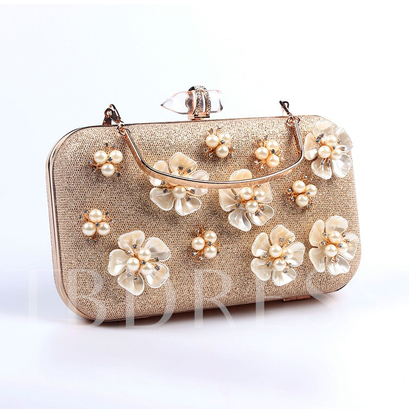 High-end Pearl Floral Design Evening Clutch