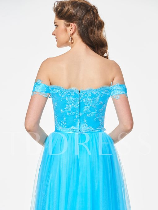 A-Line Lace Short Sleeves Off-the-Shoulder Sashes Floor-Length Prom Dress